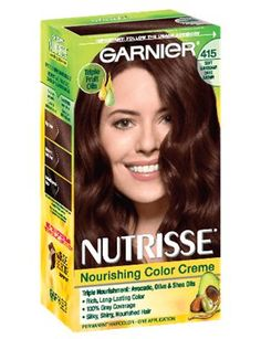 Garnier Nutrisse is the only permanent hair color creme that nourishes with grape seed and avocado oil. The nourishing color creme enriched with fruit oil concentrate, penetrates deep into hair fibers