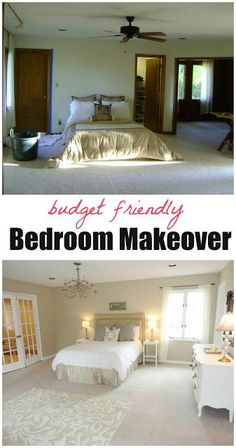 Dramatic budget bedroom makeover! Click through for tons of ideas on how to completely transform your bedroom on a budget! Great ideas. budget friendly home decor #homedecor #decor #diy