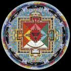Geshe Thubten Sonam (born 1965, Dharamsala, India), Sonam Woeser (born 1964, Laab, Eastern Tibet; in India 1990), and Lobsang Lungrig (born 1974, Karshoe, Eastern Tibet; in India 1994) Hayagriva Mandala United States, 1996 sand with mineral pigments, 57 inches (144.8 cm) diameter Asian Art Association, Mr. and Mrs. Yale H. Lewis, NBT Foundation, Fay Shwayder, and Asian Art Department Acquisition Fund 1996.54 This artwork is from the Denver Art Museum's Asian Art Collection.