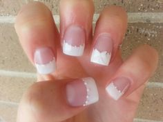 Wedding nails. Instead of white detailing use light pink!!! love it xoxoxo