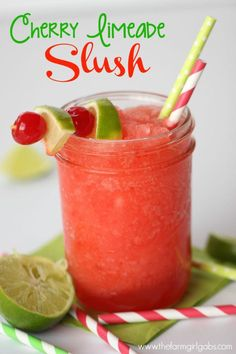 Cherry Limeade Slush is a perfect cool down drink for both young and old! | www.thefarmgirlgabs.com