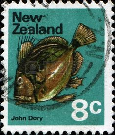 John Dory, St Pierre or Peter's Fish, (Zeus faber) stamp printed in New Zealand…