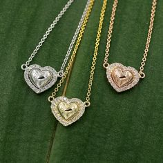 Diamond Heart neacklace. Solid 14k white Gold necklace,Yellow gold necklace, Rose gold necklace,Diamond 0.14 Ct. Heart pendant. by DiamondFineJewelry on Etsy