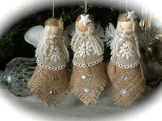 Russian Made Burlap Ornaments Burlap Ornaments, Burlap Crafts, Angel Ornaments, Christmas Projects, Holiday Crafts, Burlap Christmas, Diy Christmas Ornaments, Christmas Angels, Handmade Christmas