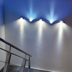 Intalite 149417 Brushed Aluminium Half Pipe LED Blue Wall Light