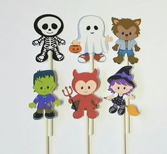 Halloween cupcake toppers set of 12 ghost witch skeleton Halloween Cupcake Toppers, Halloween Cookies, Halloween Party, Lollipop Sticks, Frankenstein, 3rd Birthday, Skeleton, First Birthdays, Card Stock