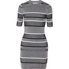 T by Alexander Wang Ribbed-knit cotton-blend mini dress (2 645 ZAR) ❤ liked on Polyvore featuring dresses, vestidos, black, t by alexander wang, black mini dress, t by alexander wang dress, short black dresses and black dress