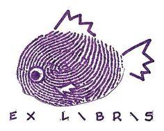 ≡ Bookplate Estate ≡ vintage ex libris labels︱artful book plates - thumb print fish