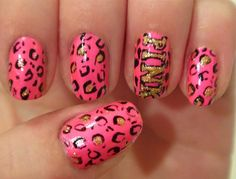 PINK Victoria secret nail art. cheetah nail art. neon pink cheetah nail art.