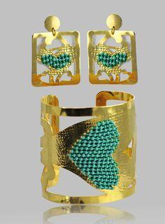 Brazalete ajustable en bronce con un baño de oro de 18 y tejida en mostacillas turquesa. $ 60.00