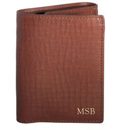 Personalized Brown Leather Tri-Fold Wallet