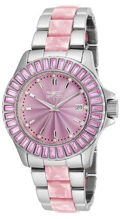b681f8eb250 Invicta 18875 Women s Angel Swarovski Crystal Bezel Pink Dial Steel   Pink  Plastic Bracelet Watch