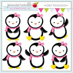 Girly Penguins clipart set comes with 6 cute penguins with pink bows and scarves.