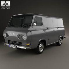 model of Ford E-Series Econoline Panel Van 1961 Gmc Vans, Ford E Series, Old School Vans, Car 3d Model, Vanz, Modelos 3d, Vintage Vans, Vans Shop, Jeep Truck