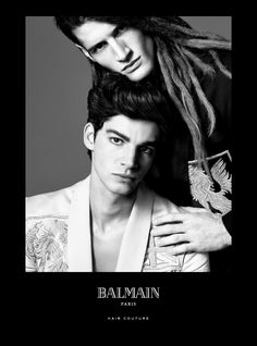 Balmain Paris Hair Couture presents the Spring/Summer 2016 Campaign starring Balmain muses Noémie Lenoir, Cindy Bruna and Devon Windsor.  Tarik Lakehal and Ryan Tift: The New Legacy  A modern translation of a classic men's look with slicked back sides using the Balmain Hair Shine Wax for a shiny finish. Harlow reinvented dreadlocks – the Balmain way – on special request of Balmain Paris Creative Director, Olivier Rousteing.