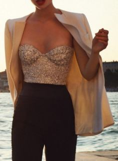 glam and vintage sparkly top with tuxedo jacket and high waisted pants- top with my sass and bide high waisted pants
