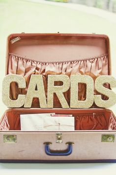 using a vintage suitcase for cards