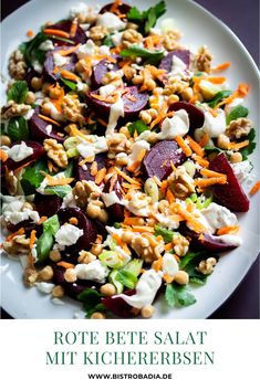Rote Bete Salat mit Kichererbsen und Feta - Bistro Badia Delicious beetroot salad with chickpeas, fe Easy Soup Recipes, Easy Healthy Recipes, Easy Dinner Recipes, Easy Meals, Salad Recipes Healthy Lunch, Chicken Salad Recipes, Quick And Easy Soup, Ground Beef Recipes, Budget Dinners