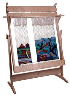 Art in weaving- quick warping with revolving frame- tension adjustment- adjustable height and weaving angle- strong frameThis vertical floor loom is easy to ass