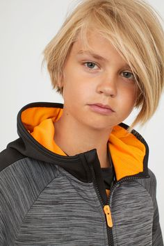 Training jacket with hood - Dark gray heather - CHILDREN Boys Long Hairstyles, Boy Haircuts Long, Cool Haircuts, Hairstyles Haircuts, Haircuts For Men, Funky Hairstyles, Formal Hairstyles, Blonde Boys, Blonde Hair Blue Eyes