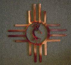 Metal Wall Art Sun Zia with Kokopelli Southwestern Art, Southwest Decor, Southwestern Decorating, Southwest Style, Native Art, Native American Art, Native Symbols, Metal Tree Wall Art, Metal Art