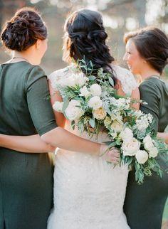 Olive green bridesmaids and a cascading rose bouquet: Photography: Jordan Brittley - http://jordanbrittley.com/