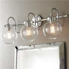 "$419 $329.82 3x100 watts max, medium base. (11.5""Hx29.5""Wx9.3""D) 4.8"" Canopy Retro Glass Globe Bath Light - 3 Light"