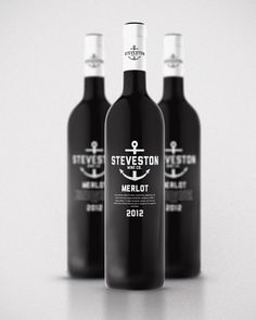 Steveston Village house wine concept designed by Kristian Hay, a Canadian graphic designer. | #wine #packaging #black | www.behance.net/kristianhay