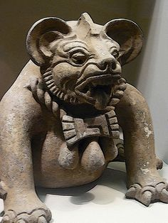 Zapotec Jaguar-headed funerary urn 300-650 CE w accented edges applied