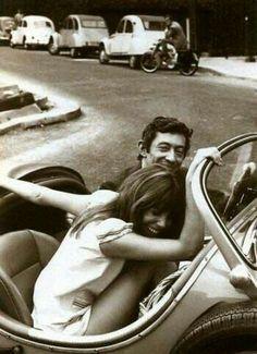 Jane Birkin and Serge Gainsbourg. Black and white photography.