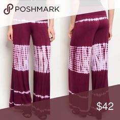 🆕 Comfy Wide Leg Tie Dye Maroon Palazzo Pants These comfortable pants are so soft! They run just a little small, but are stretchy. If you're between sizes, size up. Paperback Boutique Pants Wide Leg
