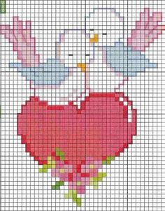 Valentine's or Engagement Cross Stitch Heart, Cross Stitch Cards, Cross Stitch Animals, Counted Cross Stitch Patterns, Cross Stitch Designs, Cross Stitching, Cross Stitch Embroidery, Embroidery Patterns, Hand Embroidery