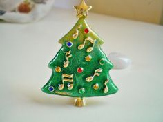 Glossy Enameled Music Note Holiday Christmas Tree Gold Tone Brooch by AnotherTimeGiftShop on Etsy