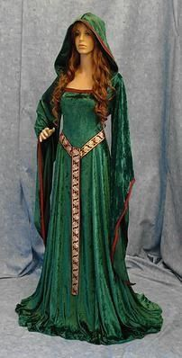Green hooded dress of celtic design