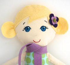 Bionda bambola di panno a mano con blu occhi mia di MyGigiDoll, $64.50