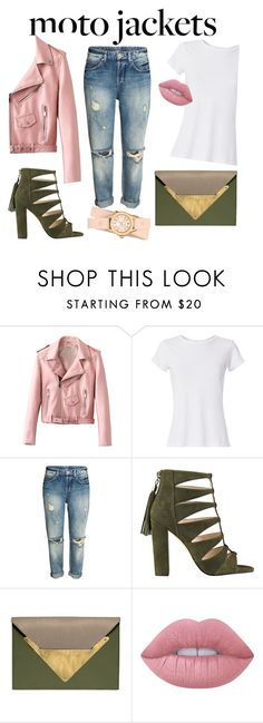 """""""jacket"""" by monika-rej ❤ liked on Polyvore featuring Hanes, Dareen Hakim, Lime Crime, Michele and motojackets"""