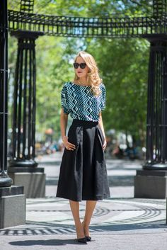 Milly Chic -- Skirt: c/o Milly      Shirt: c/o Milly     Shoes: Ivanka Trump    Necklace: Vintage     Rings: Vintage and Kathy Kamei     Sunglasses: Nina Ricci
