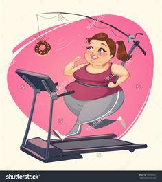 Fat Girl Is Running. Vector Illustration. - 149284481 : Shutterstock
