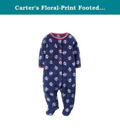 Carter's Floral-Print Footed Bodysuit - Newborn. Girly comfort blooms with this easy, snap-front bodysuit. ankle-to-chin snaps crewneck long sleeves 3D bows built-in footies with grippers polyester washable imported Fabric and fit are important safety considerations for children's sleepwear. Sleepwear should be flame resistant or snug-fitting to meet U.S. Consumer Product Safety Commission sleepwear requirements.