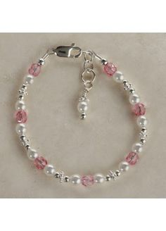 Sachet Beautiful Sterling Silver Flower Girl Bracelet with gorgeous white Czech pearls and pink crystals adorned with an ornate dangling pearl.