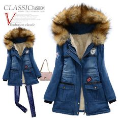 Cheap parka winter, Buy Quality parka shop directly from China parka kids Suppliers: New Women Winter Coat Fashion Slim Fur Collar Patchwork Belt Free Warm Long Coat Jacket Woman S M Winter Coats Women, Coats For Women, Winter Jackets, Denim Coat, Fashion Now, Padded Jacket, Warm Coat, Fur Collars, Jacket Style