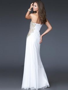 2012 Style Sheath / Column Strapless Applique  Sleeveless Floor-length Chiffon White Prom Dress / Evening Dress