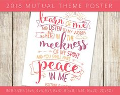 2018 LDS Mutual Theme Peace in Christ Pink Poster