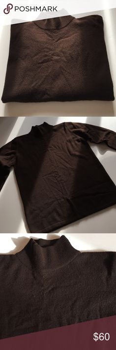 """Country Shop Dark Brown Cashmere Sweater Excellent condition. 100% cashmere. Thick and soft. Long sleeve mock turtleneck. Banded sleeves and bottom edge. Dry clean only. 19"""" from armpit to armpit. 23.5"""" long. Not from a smoke free house. Country Shop Sweaters Cowl & Turtlenecks"""