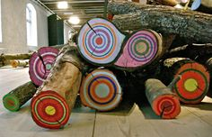 Painted Logs for Natural Playscapes, inspired by Jacob Dahlgren
