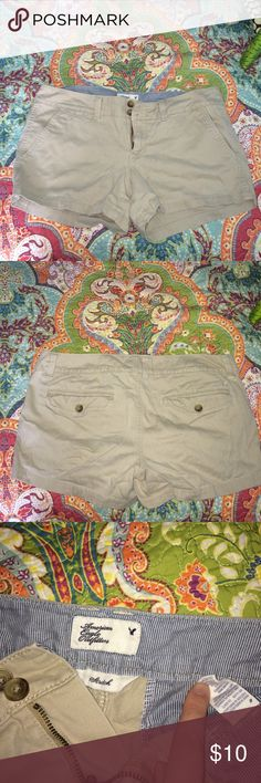 American Eagle Outfitters Soft Khaki Shorts Worn 3x Max, super comfy and long enough so your butt checks don't hang out (some people like that but I'm not a fan! 😆) No tears, pulls, pills, rips or stains! REASONABLE OFFERS ONLY, NO TRADES OR PAYPAL. American Eagle Outfitters Shorts