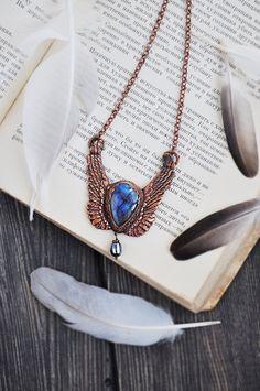 Angel wing necklace labradorite copper pendant OOAK от ChechelArt
