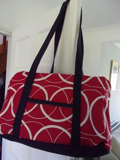 Weekender Bag in Red and white circle fabric with contrasting navy base handles and zip.with shoulder length handles Approx 18 x 12 x 6 Navy Base, Free Motion Embroidery, Curtain Fabric, Lining Fabric, Shoulder Length, Weekender, Gym Bag, Red And White, Contrast