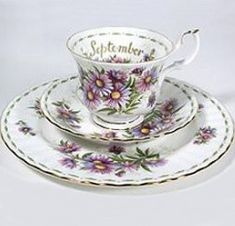 Royal Albert China Series - Flower of the Month Series 1970 Michaelmas Daisy