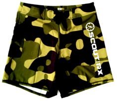 Version1 WOD Shorts 4, stretch poly/rayon/ 19inch inseam crossfit shorts, no slit available 02.10.15 msrp $52.99 / pre-order pricing at $44.99  Green camo/ by SCOUT RX Gear